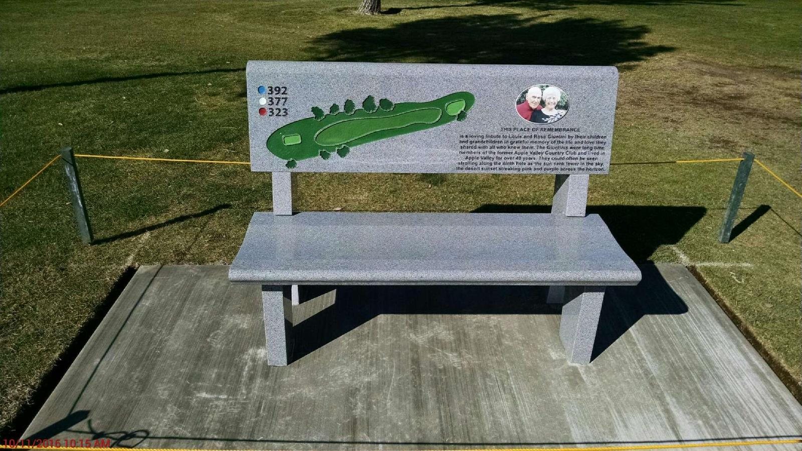 Memorial bench to be dedicated in memory of the Giuntinis