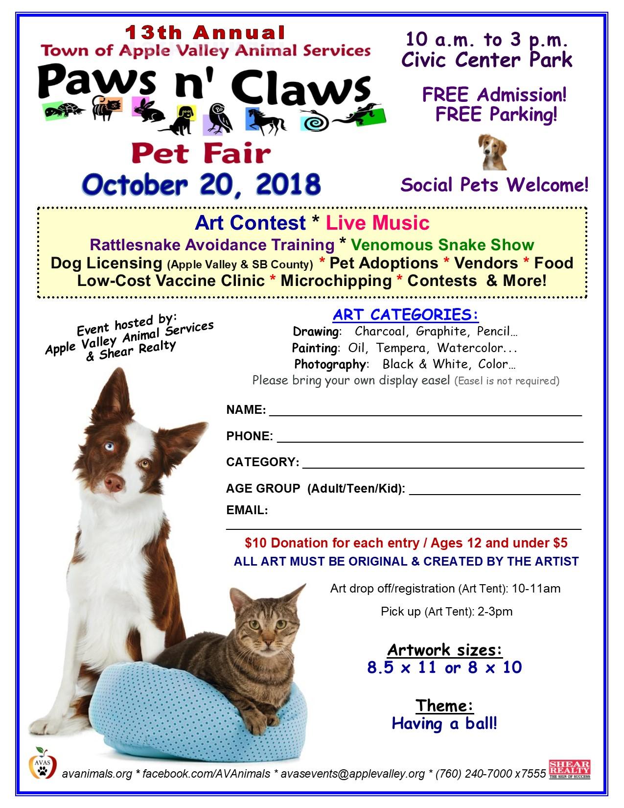 Paws 'n' Claws Pet Fair, AV @ Civic Center Park | Apple Valley | California | United States