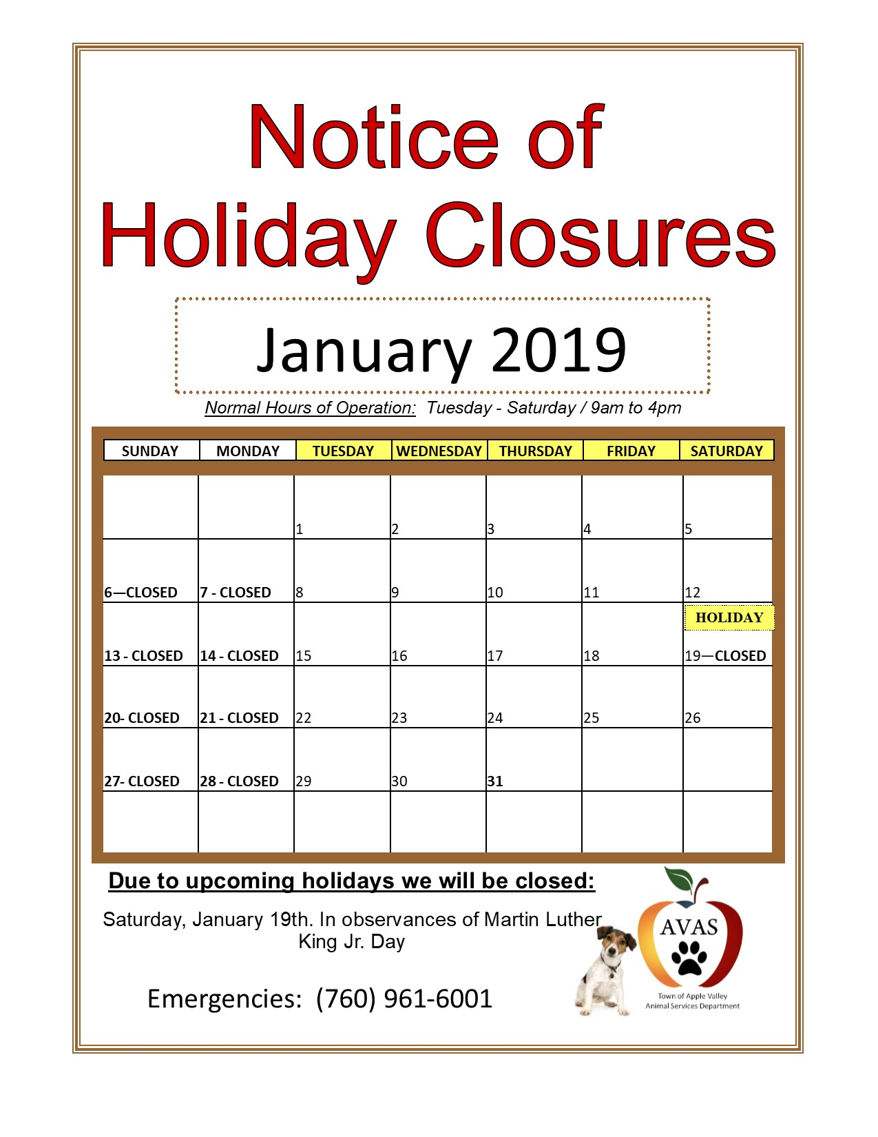 Closed for Holidays Jan