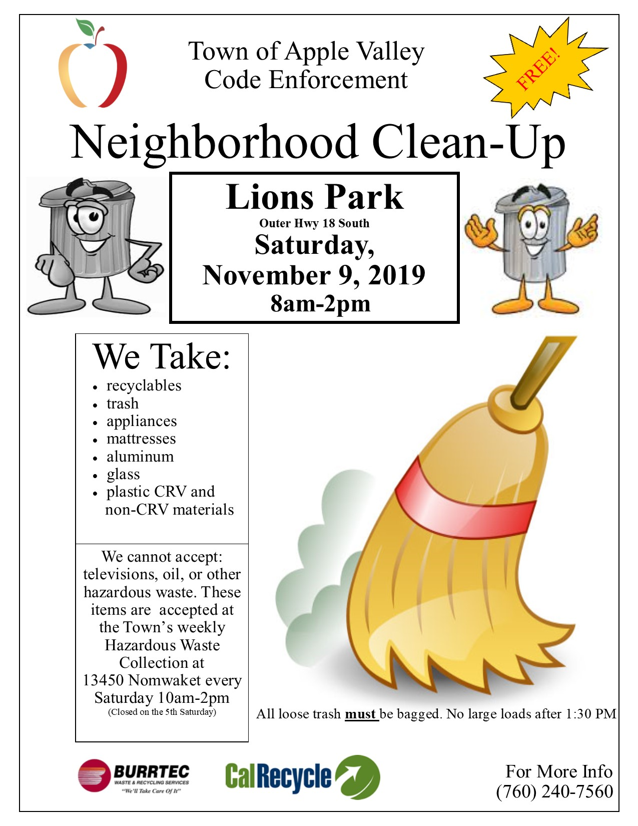 Neighborhood Clean-up November 9, 2019